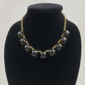 J Crew Chunky Black Bead Gold Tone Chain Necklace